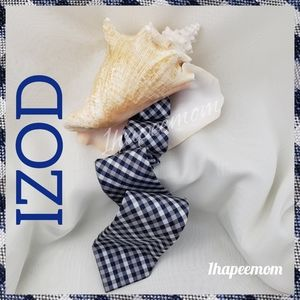 Izod Mens Gingham Plaid Tie Navy White and Gray